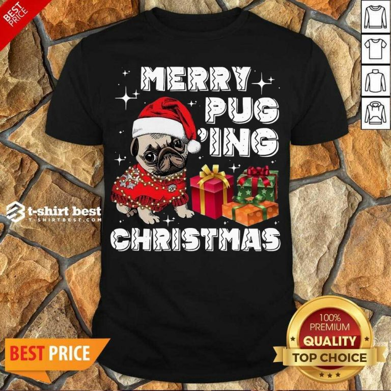 Awesome Merry Pugging Christmas With Santa Hat Pug Dog Pugmas Pajama Shirt - Design By 1tees.com