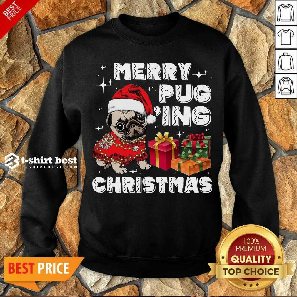 Merry Pugging Christmas With Santa Hat Pug Dog Pugmas Pajama Sweatshirt - Design By 1tees.com
