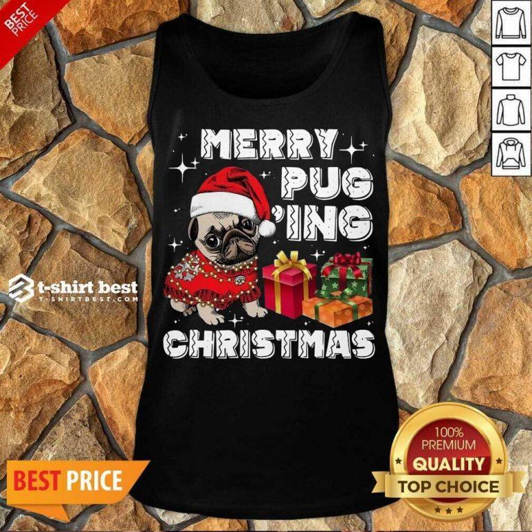 Merry Pugging Christmas With Santa Hat Pug Dog Pugmas Pajama Tank Top - Design By 1tees.com