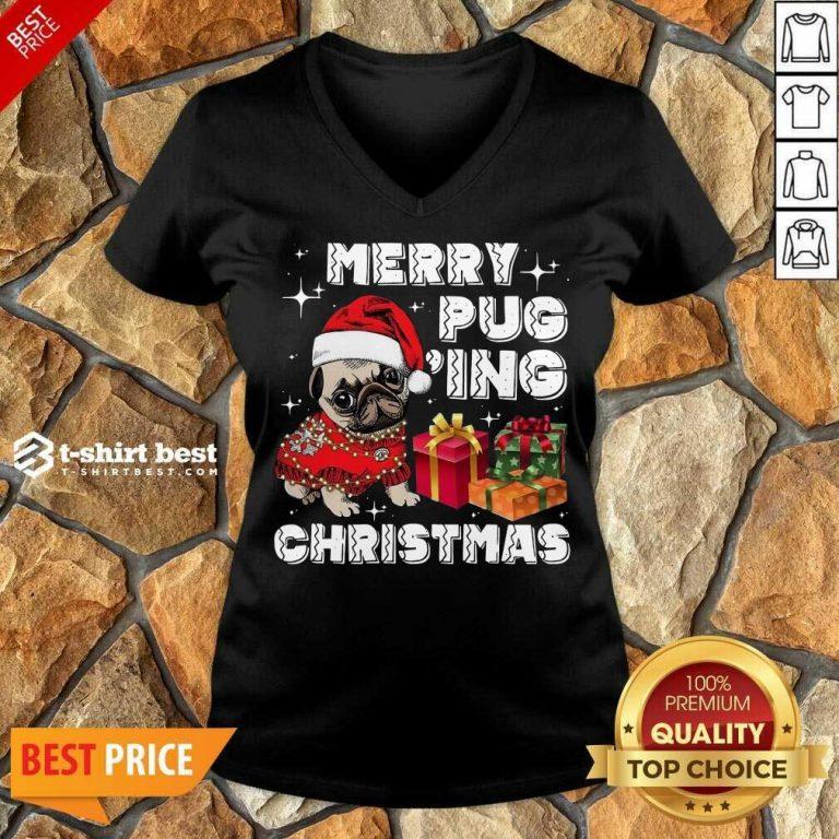 Merry Pugging Christmas With Santa Hat Pug Dog Pugmas Pajama V-neck - Design By 1tees.com