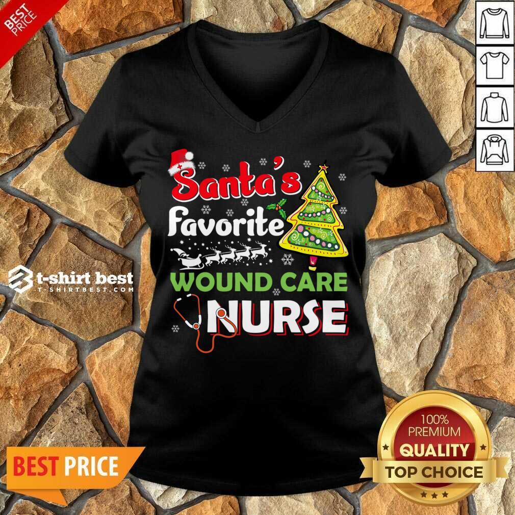 Santa's Favorite Wound Care Nurse - Christmas V-neck - Design By 1tees.com