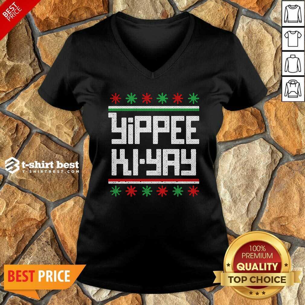 Yippee Ki Yay Funny Ugly Christmas V-neck - Design By 1tees.com