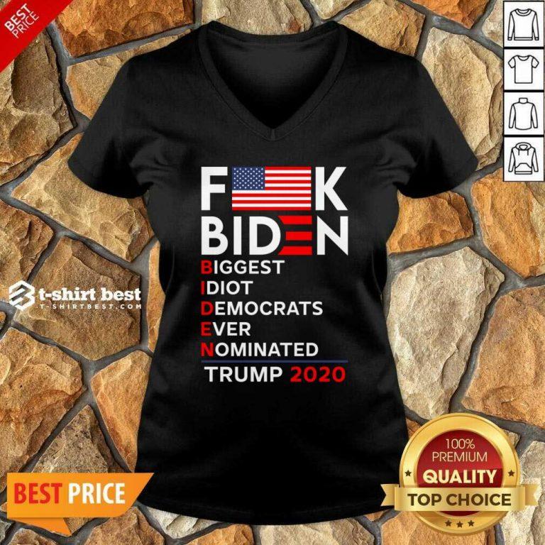 Biden Biggest Idiot Democrats Ever Nominated Trump 2020 V-neck - Design By 1tees.com