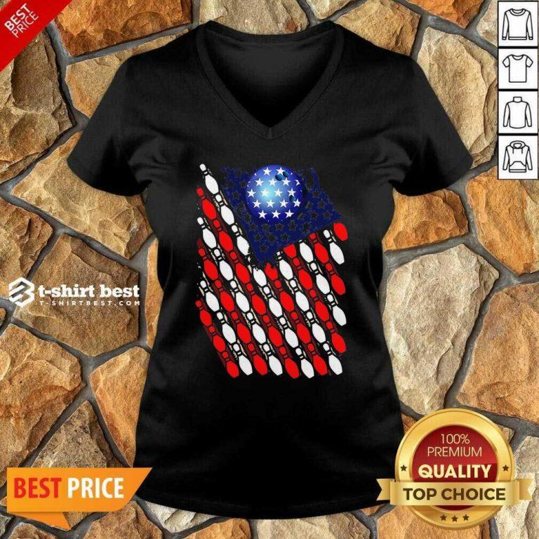 Bowling American Flag 2020 V-neck - Design By 1tees.com