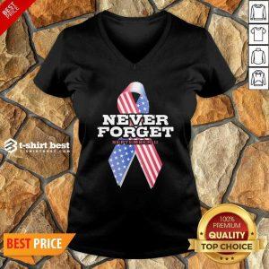 Breast Cancer American Never Forget September 11 V-neck - Design By 1tees.com