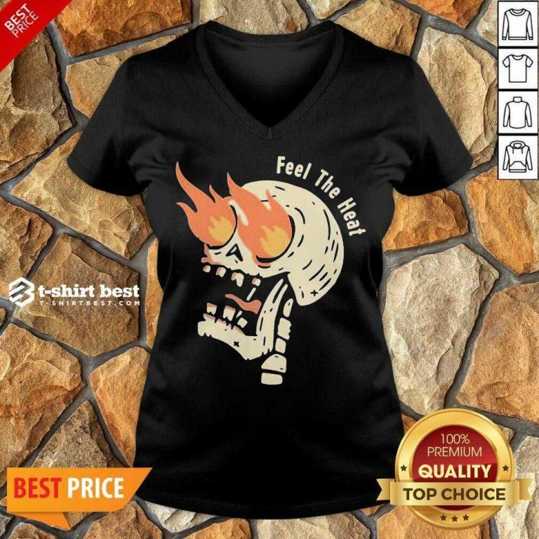 Fire Skull Feel The Heat V-neck - Design By 1tees.com