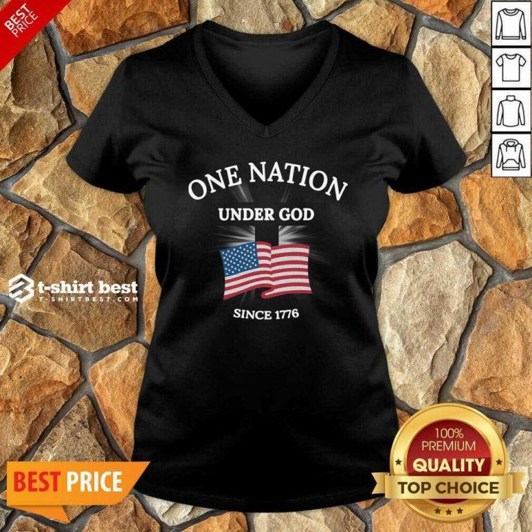 One Nation Under God Since 1776 V-neck - Design By 1tees.com