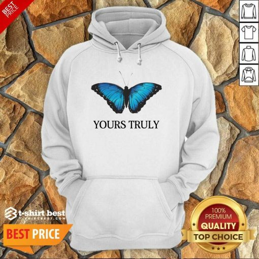 Phora Merch Yours Truly Blue Butterfly White Hoodie - Design By 1tees.com