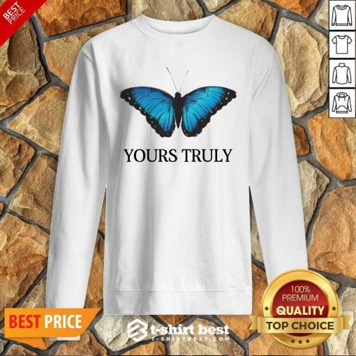 Phora Merch Yours Truly Blue Butterfly White Sweatshirt - Design By 1tees.com