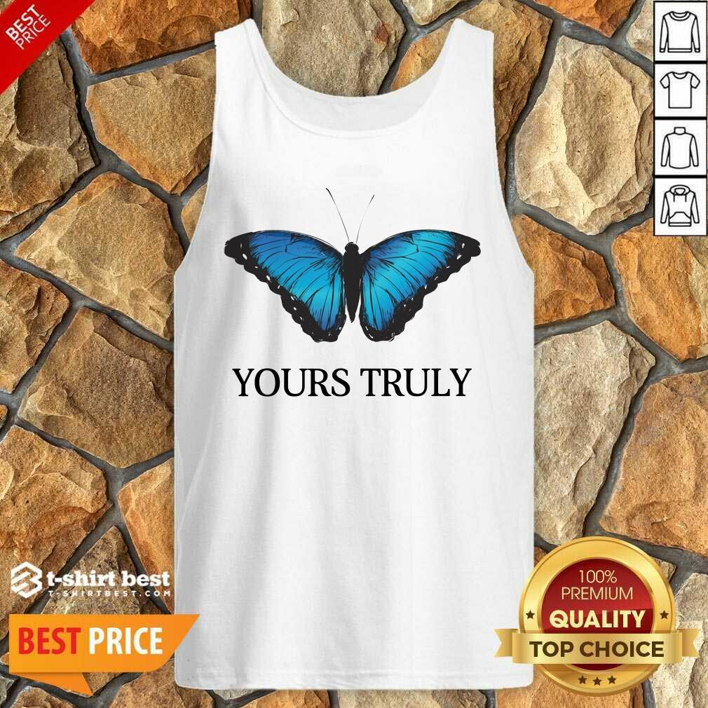 Phora Merch Yours Truly Blue Butterfly White Tank Top - Design By 1tees.com