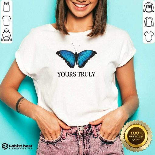 Phora Merch Yours Truly Blue Butterfly White V-neck - Design By 1tees.com