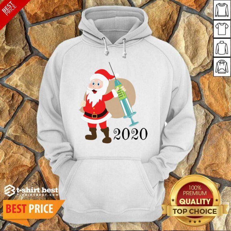 =Santa 2020 Delivering Vaccine Hoodie - Design By 1tees.com
