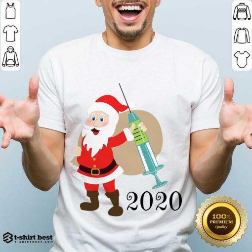 Funny Santa 2020 Delivering Vaccine Shirt - Design By 1tees.com