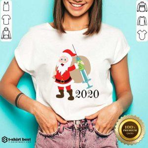Santa 2020 Delivering Vaccine V-neck - Design By 1tees.com
