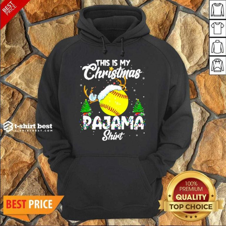This Is My Christmas Pajama Softball Christmas Pajamas Hoodie - Design By 1tees.com