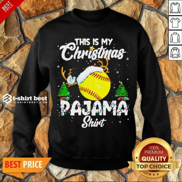 This Is My Christmas Pajama Softball Christmas Pajamas Sweatshirt - Design By 1tees.com