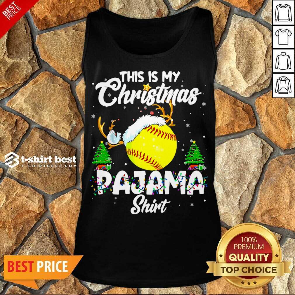 This Is My Christmas Pajama Softball Christmas Pajamas Tank Top - Design By 1tees.com