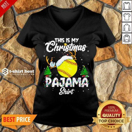 This Is My Christmas Pajama Softball Christmas Pajamas V-neck - Design By 1tees.com