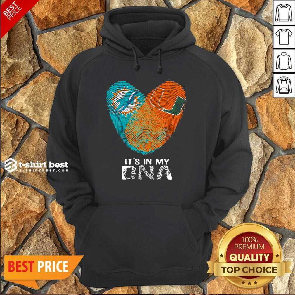 Dolphins Hurricanes It's In My Dna Heart Fingerprints Hoodie - Design By 1tees.com