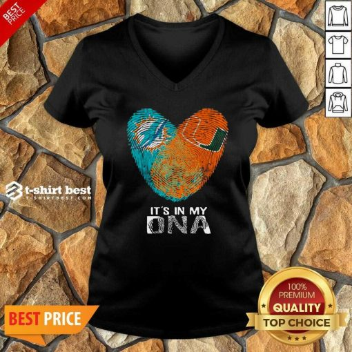 Dolphins Hurricanes It's In My Dna Heart Fingerprints V-neck - Design By 1tees.com