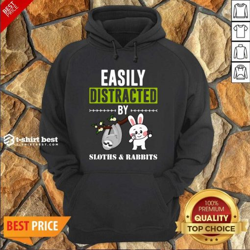 Easily Distracted By Sloths Lover Design Cute Rabbits Hoodie - Design By 1tees.com