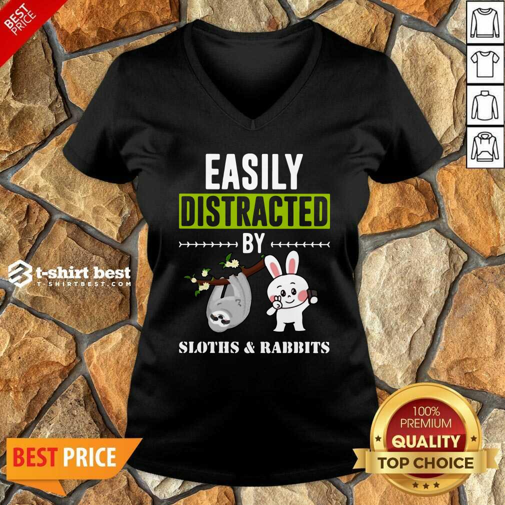 Easily Distracted By Sloths Lover Design Cute Rabbits V-neck - Design By 1tees.com