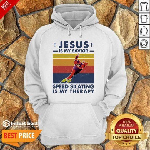 Jesus Is My Savior Speed Skating Is My Therapy Vintage Hoodie - Design By 1tees.com