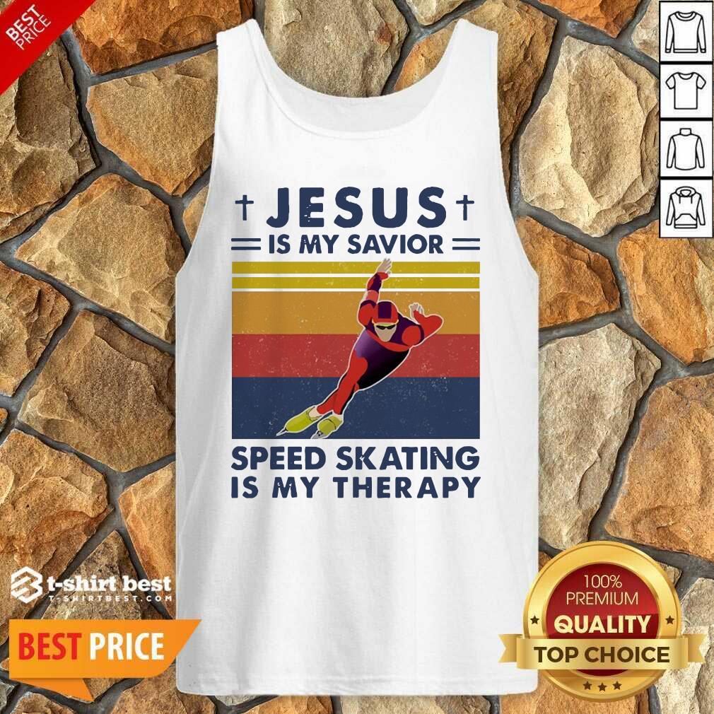 Jesus Is My Savior Speed Skating Is My Therapy Vintage Tank Top - Design By 1tees.com