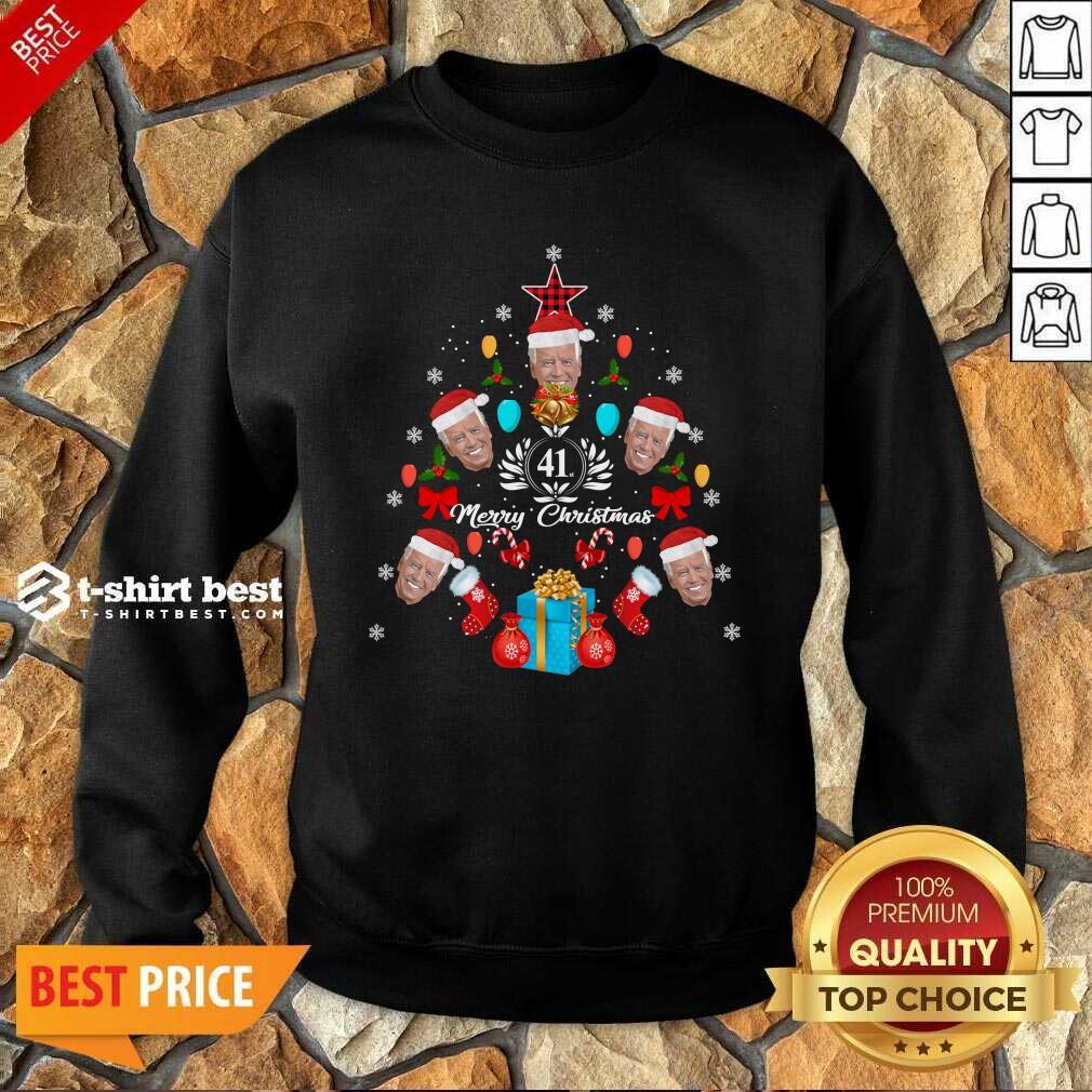 Joe Biden Christmas Tree 41th Merry Christmas Sweatshirt - Design By 1tees.com