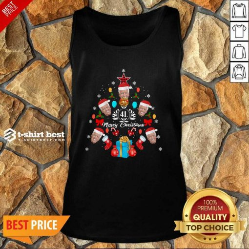 Joe Biden Christmas Tree 41th Merry Christmas Tank Top - Design By 1tees.com