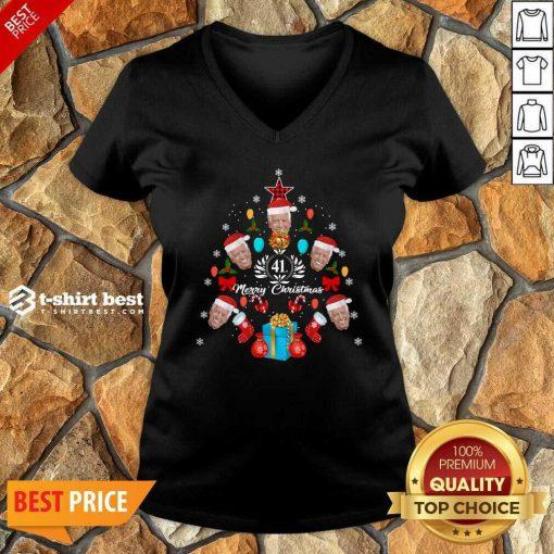 Joe Biden Christmas Tree 41th Merry Christmas V-neck - Design By 1tees.com
