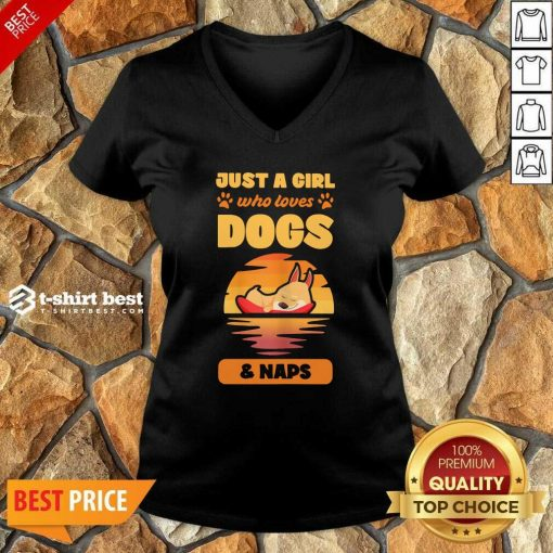 Just A Girl Who Loves Dogs And Naps V-neck - Design By 1tees.com