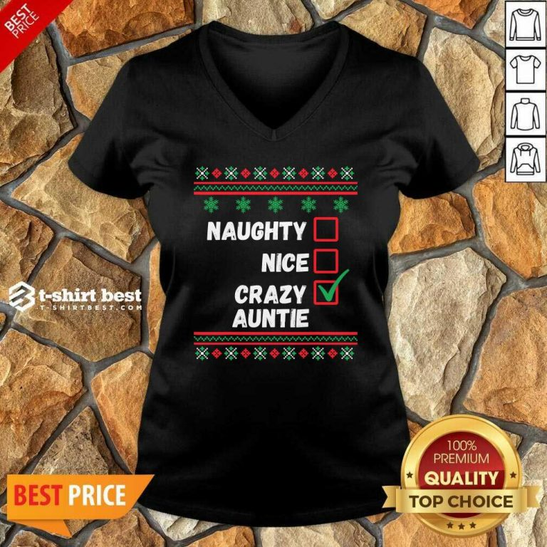 Naughty Nice Crazy Auntie 2020 Ugly Christmas V-neck - Design By 1tees.com