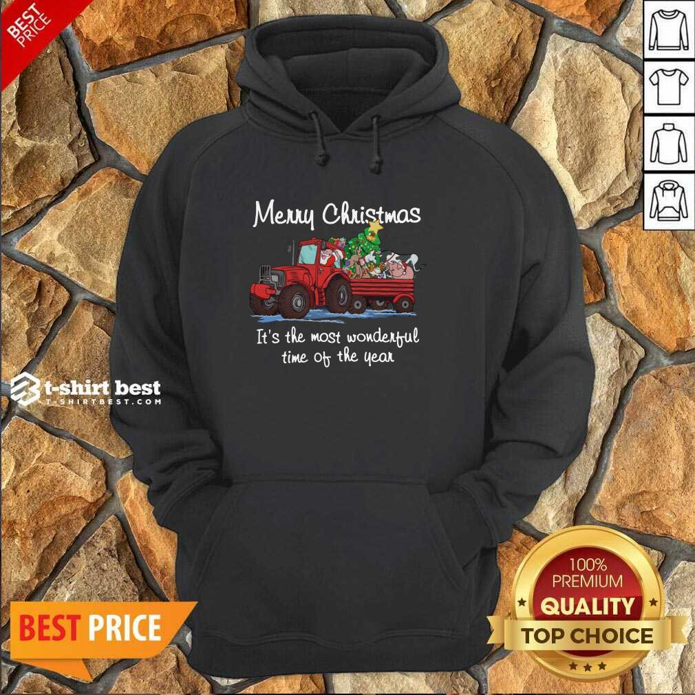 Santa Claus And Animal Merry Christmas It's The Most Wonderful Time Of The Year Hoodie - Design By 1tees.com
