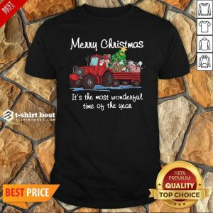 Good Santa Claus And Animal Merry Christmas It's The Most Wonderful Time Of The Year Shirt - Design By 1tees.com