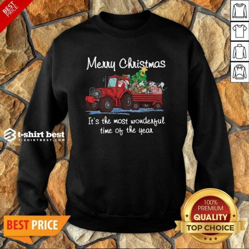 Santa Claus And Animal Merry Christmas It's The Most Wonderful Time Of The Year Sweatshirt - Design By 1tees.com