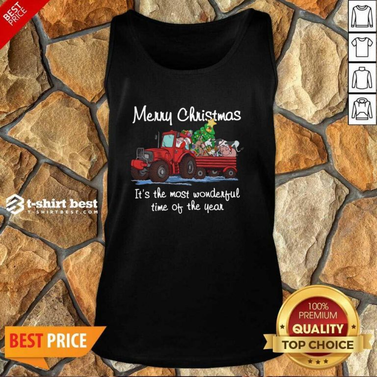 Santa Claus And Animal Merry Christmas It's The Most Wonderful Time Of The Year Tank Top - Design By 1tees.com