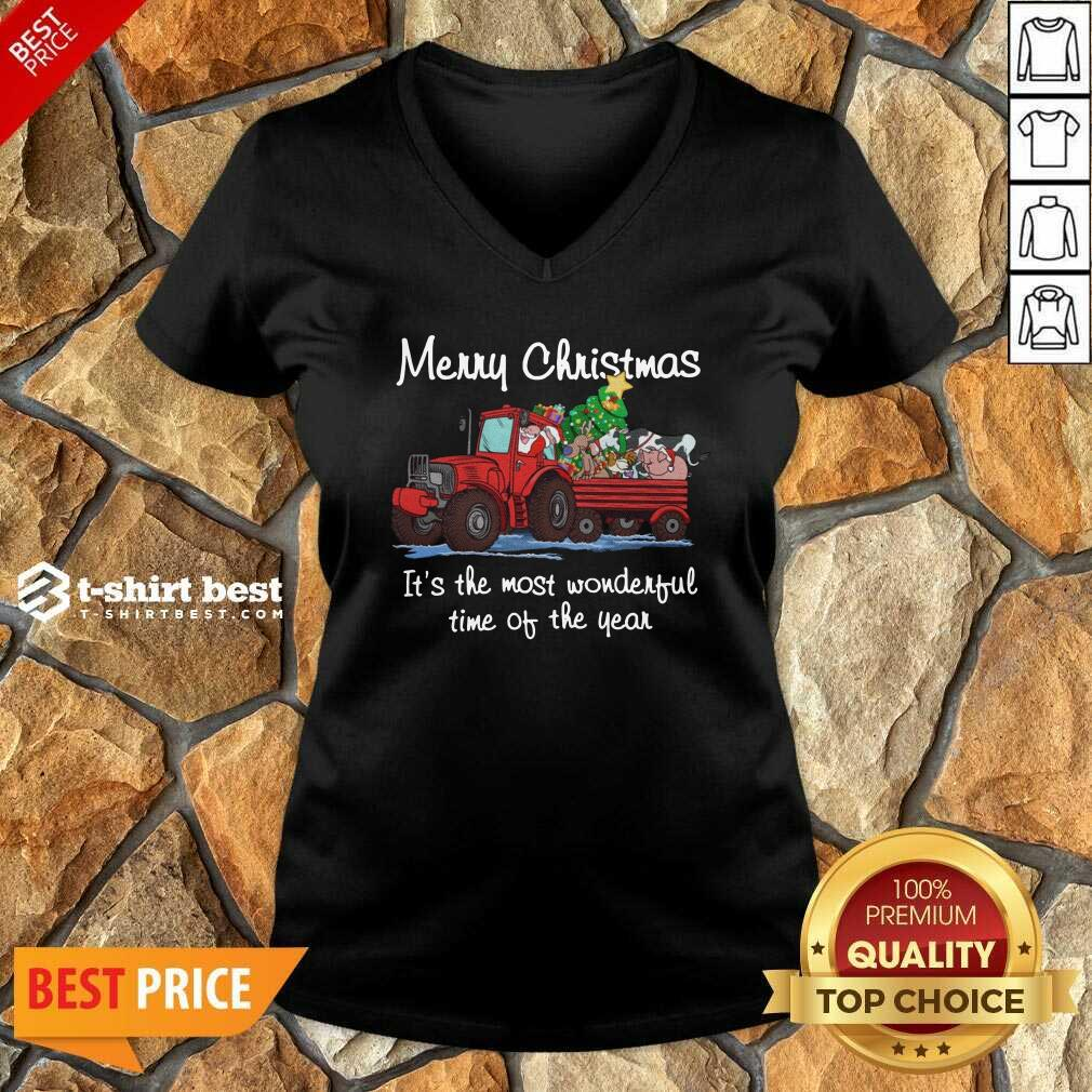 Santa Claus And Animal Merry Christmas It's The Most Wonderful Time Of The Year V-neck - Design By 1tees.com