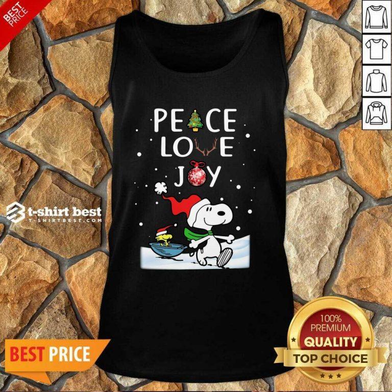 Snoopy Peace Love Joy Christmas Tank Top - Design By 1tees.com