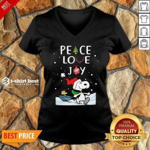 Snoopy Peace Love Joy Christmas V-neck - Design By 1tees.com
