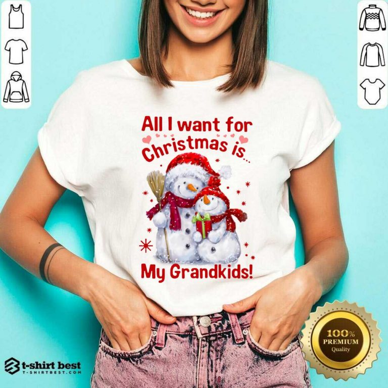 Snowman All I Want For Christmas Is My Grandkids V-neck - Design By 1tees.com