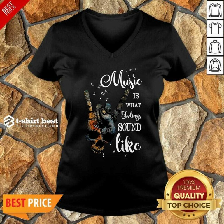 Music Is What Feelings Sound Like Peace V-neck - Design By 1tees.com