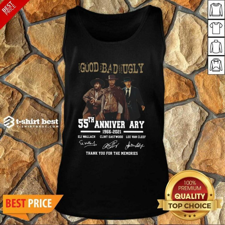 The Good The Bad The Ugly 55th Anniversary 1966 2021 Thank You For The Memories Signatures Tank Top - Design By 1tees.com