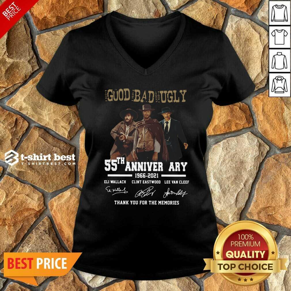 The Good The Bad The Ugly 55th Anniversary 1966 2021 Thank You For The Memories Signatures V-neck - Design By 1tees.com