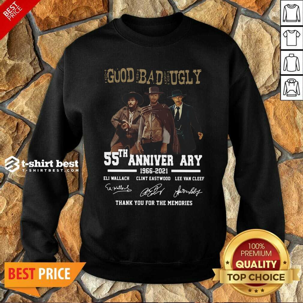 The Good The Bad The Ugly 55th Anniversary 1966 2021 Thank You For The Memories Signatures Sweatshirt - Design By 1tees.com