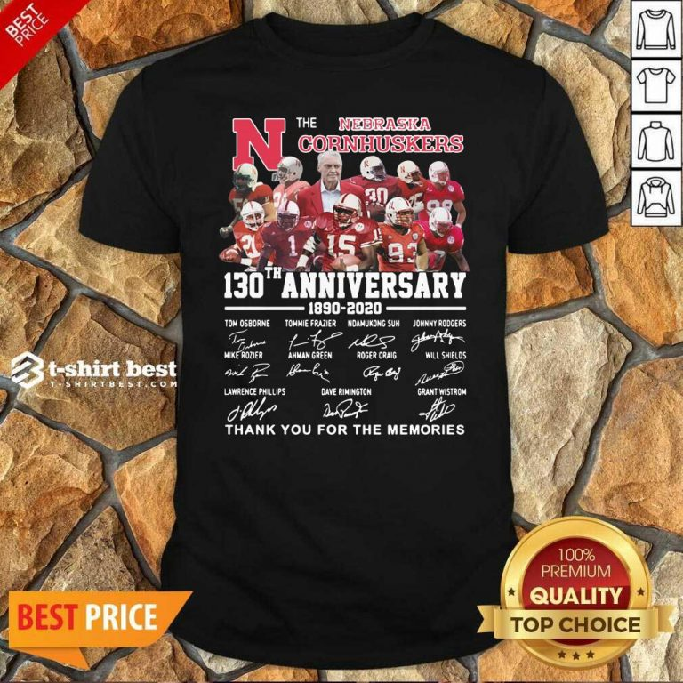The Nebraska Cornhuskers 130th Anniversary 1890 2021 Signature Thank You For The Memories Shirt - Design By 1tees.com