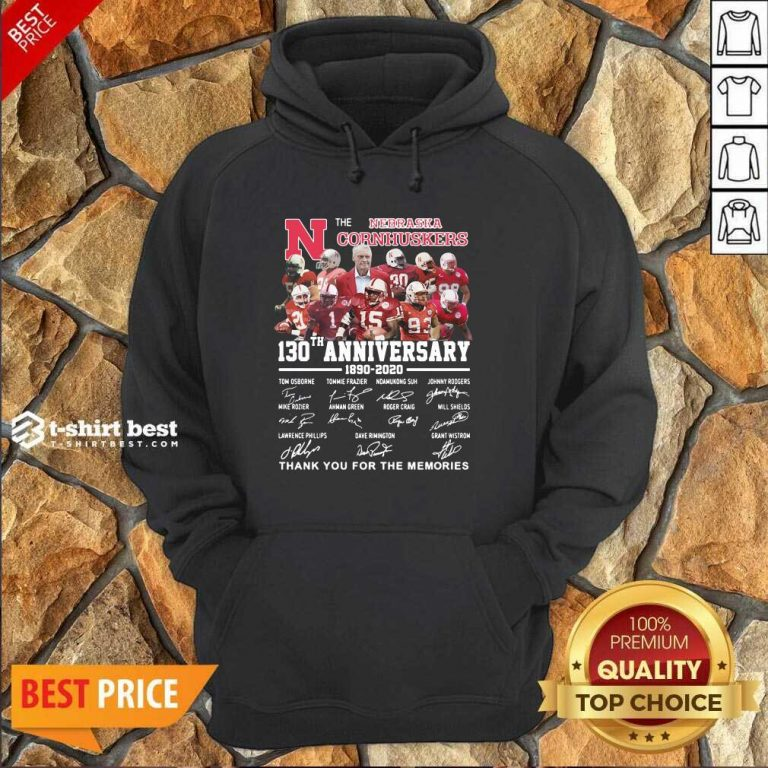 The Nebraska Cornhuskers 130th Anniversary 1890 2021 Signature Thank You For The Memories Hoodie - Design By 1tees.com