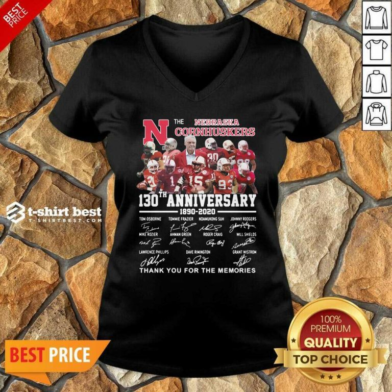 The Nebraska Cornhuskers 130th Anniversary 1890 2021 Signature Thank You For The Memories V-neck - Design By 1tees.com