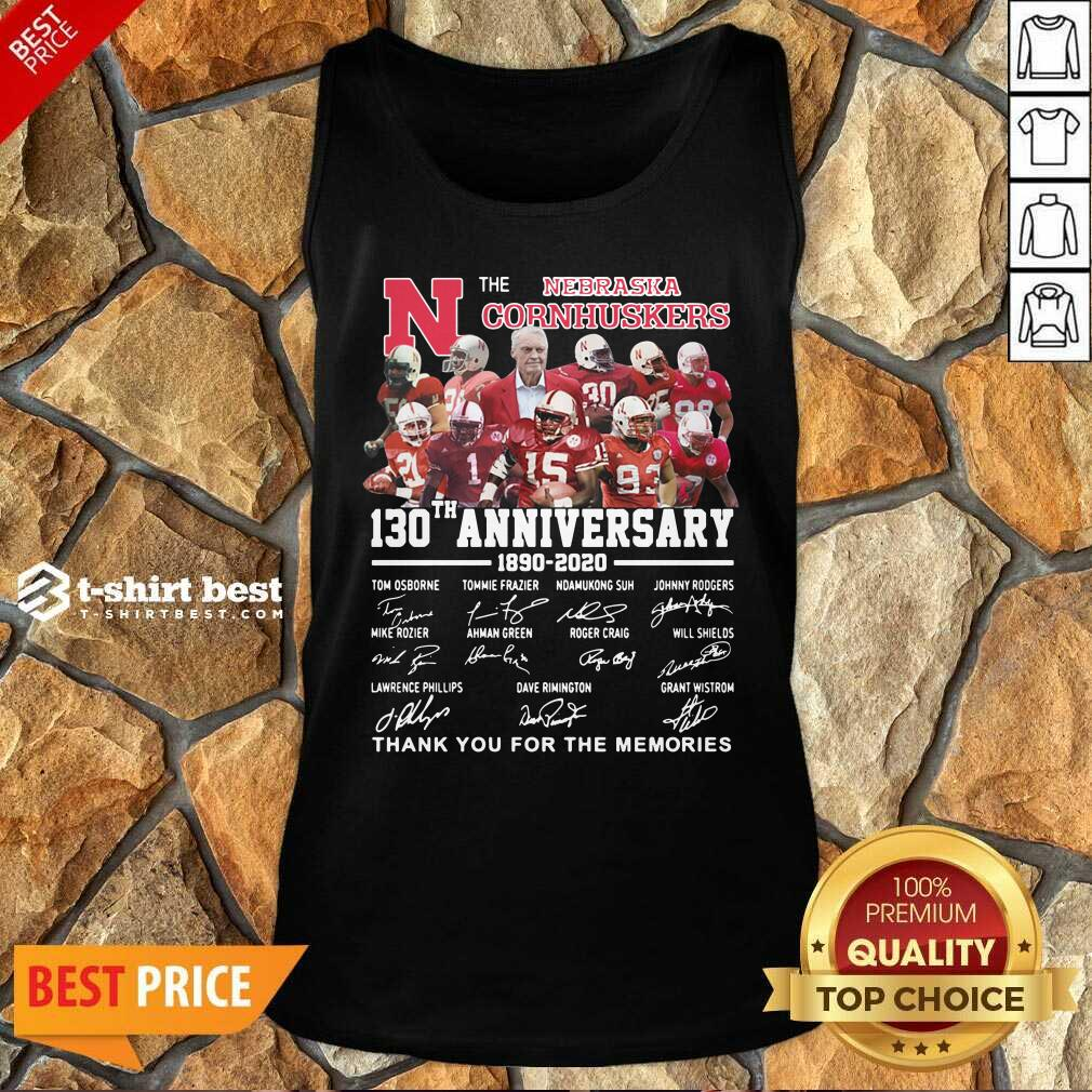 The Nebraska Cornhuskers 130th Anniversary 1890 2021 Signature Thank You For The Memories Tank Top - Design By 1tees.com