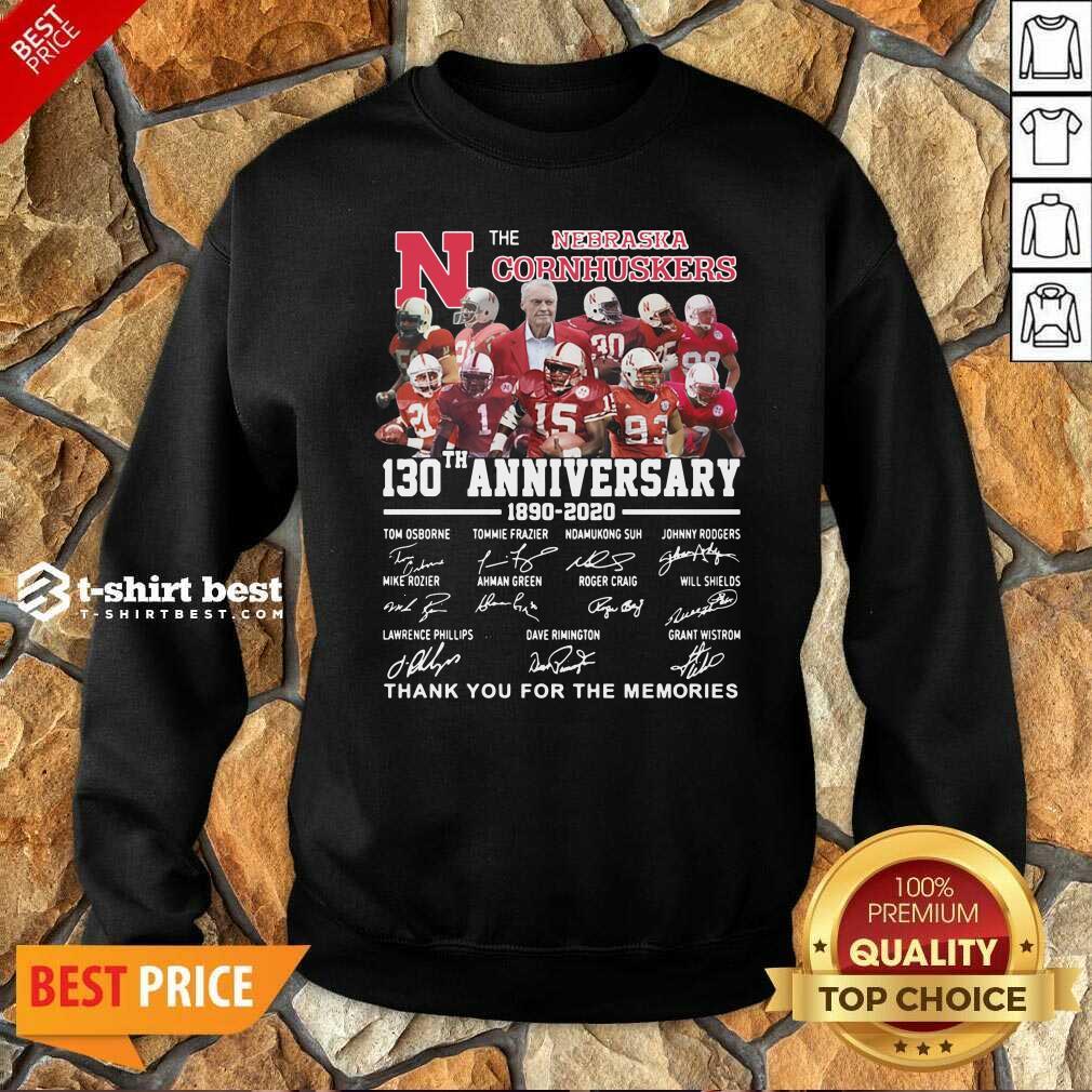 The Nebraska Cornhuskers 130th Anniversary 1890 2021 Signature Thank You For The Memories Sweatshirt - Design By 1tees.com